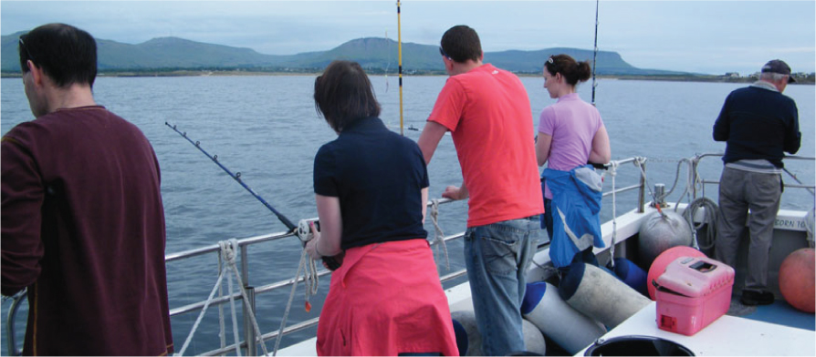 Aboard the MV Fiona Tee. Perfect for a fishing trip, exploriing the islands or just for a day out.